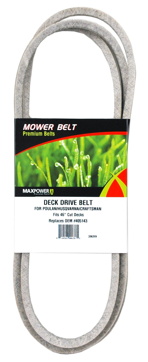 Maxpower 336319 Deck Drive Belt for 46'' Cut Poulan/Husqvarna/Craftsman, 405143, 532405143, 58445310 and Many Others