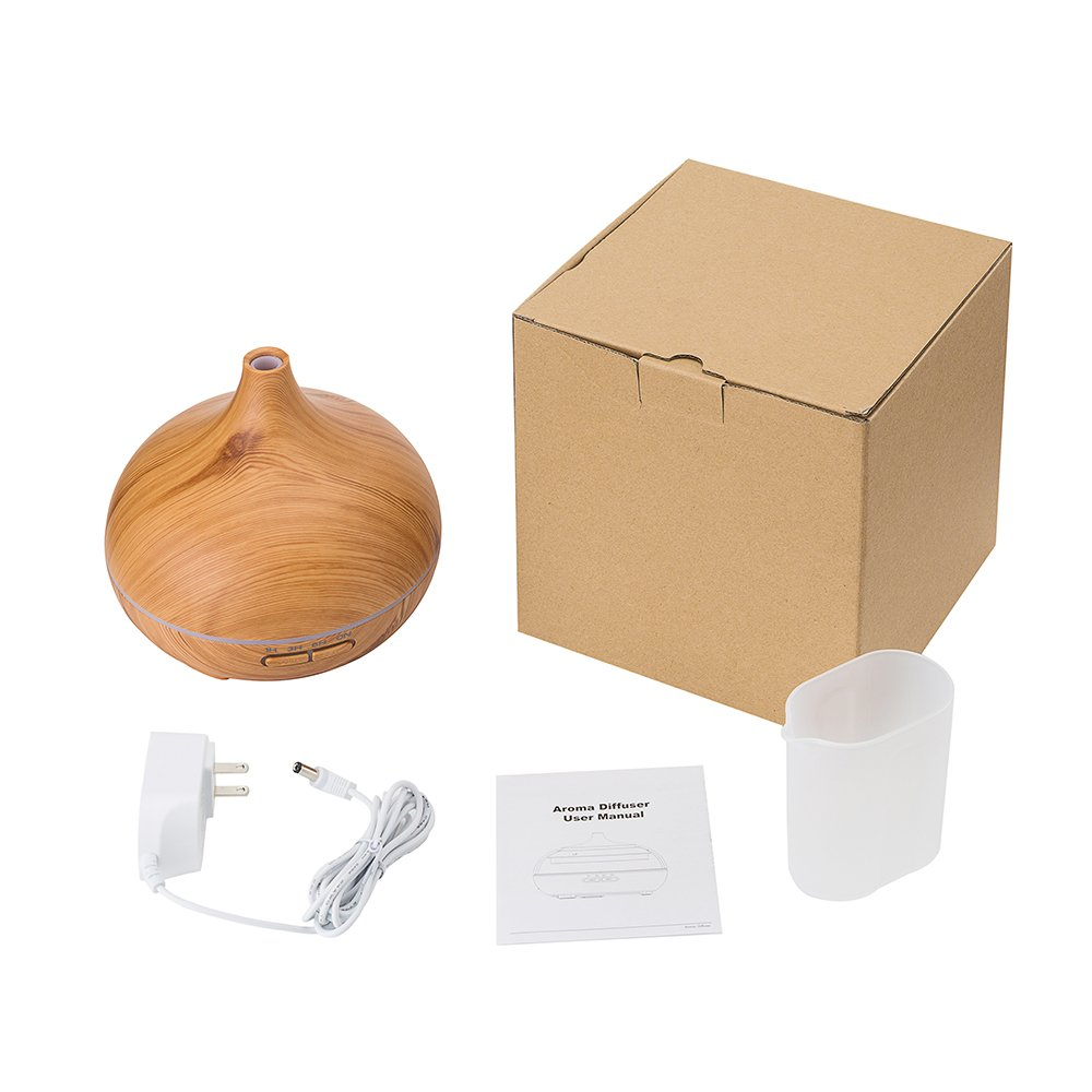 300ml Portable Wood Ultrasonic Cool Mist Aroma Humidifier with Color LED Lights FD25 by Purple-Violet (Image #5)