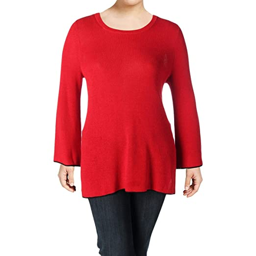 4d12cb1135bcc Vince Camuto New Womens Red Bell Sleeve Crewneck Casual Sweater 1X BHFO 3226