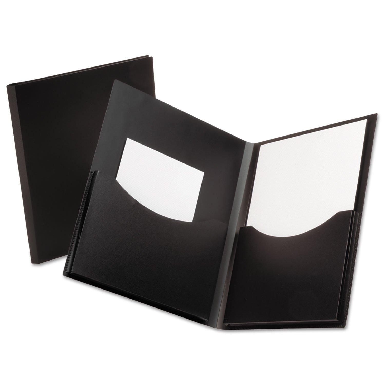 Oxford 57454 Poly Double Stuff Gusseted 2-Pocket Folder, 200-Sheet Capacity Black
