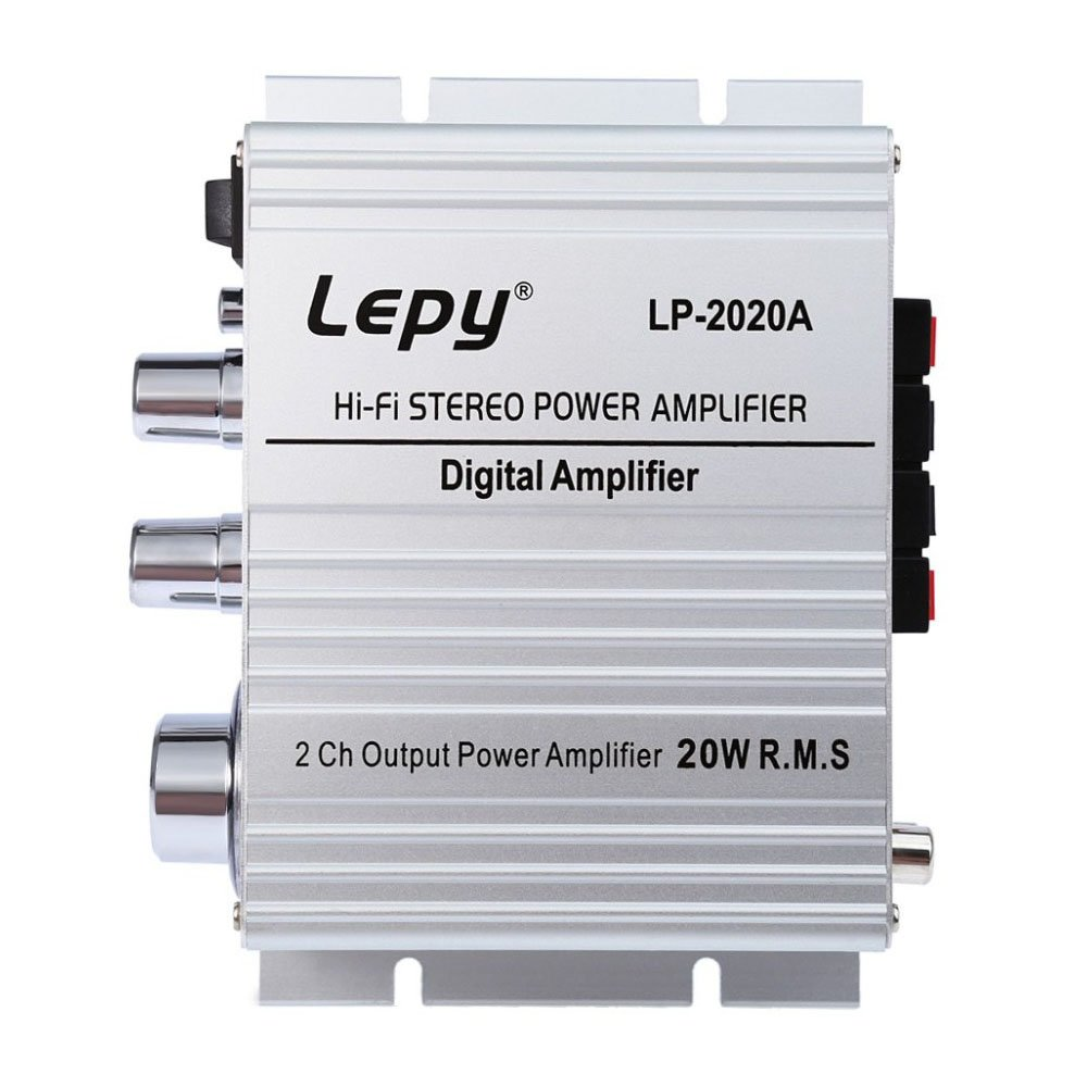 White Lepy LP 2020A 20WX2 Mini HIFI Stereo Audio Amplifier AMP For Car Bicycle Motorcycle Vehicle With Power Supply by Seeduck