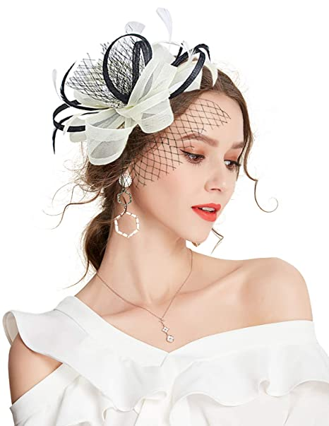 f4647a97c7667 Z X Sinamay Penny Mesh Bow Flower Hair Clip Fascinator Hat for Women  Cocktail Beige