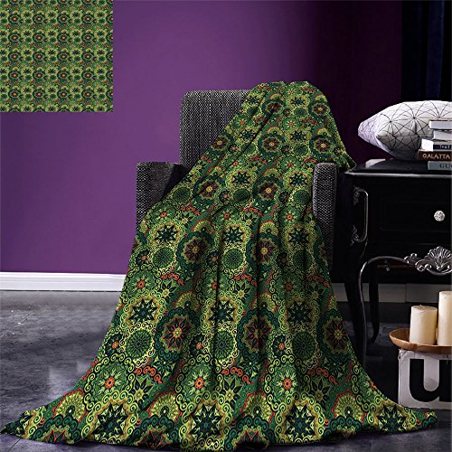 smallbeefly Mandala Digital Printing Blanket Overlapping Retro Antique Round Flowers Native African Culture Summer Quilt Comforter Dark Green Pale Green Vermilion by smallbeefly