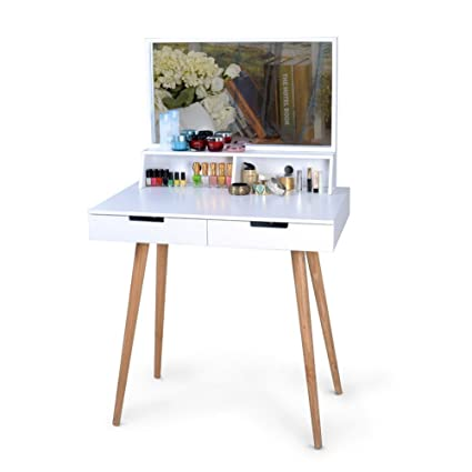 Amazon Com Organizedlife White Large Makeup Vanity Table Desk With Drawers And Mirror Jewelry Armoire Kitchen Dining