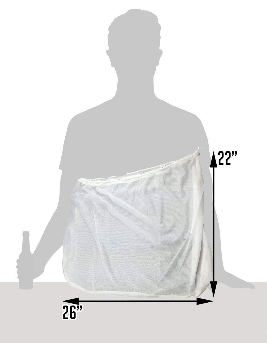 2pk Extra Large (26'' x 22'') Reusable Drawstring Straining Brew in a Bag by The Weekend Brewer (Image #3)