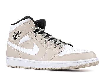 detailed look 3b60e d648b Nike Herren Air Jordan 1 Mid Beige Leder Synthetik Textil Sneaker 45