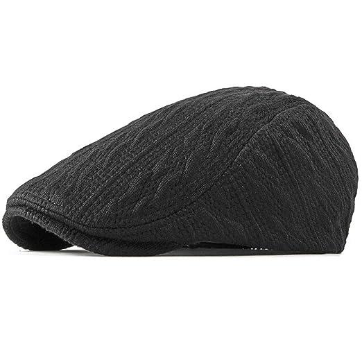 6ffadf6180a9a Cable-Knit Newsboy Hat Mens Gatsby Flat Cabbie Hunting Golf Cap Black