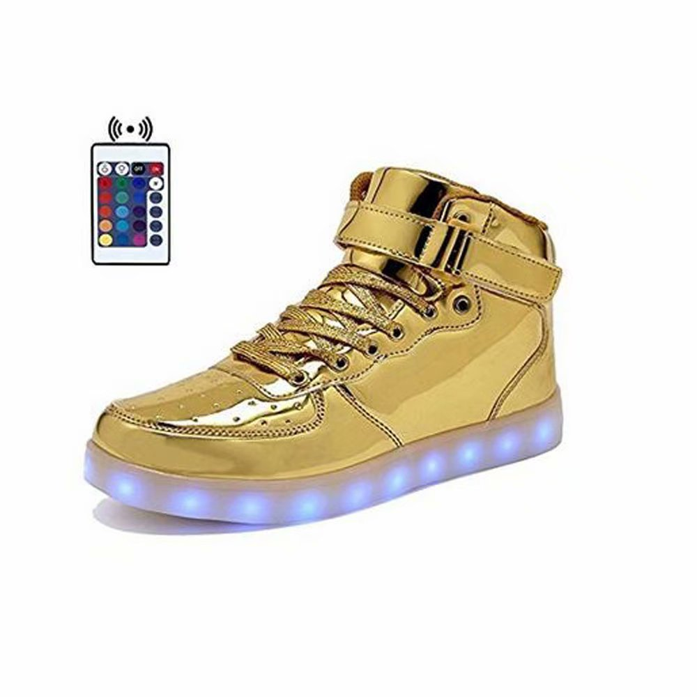 High Top Velcro LED Light Up Shoes 7 Colors USB Flashing Rechargeable Walking Sneakers For Kids Boots With Remote Control(Toddler/Little Kids/Big Kids)-34(gold)