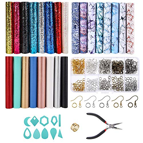 (Souarts 24PCS Solid/Marbling/Sequined Faux Leather Sheets + Earring Hooks + Jump-Rings Tools for DIY Jewelry Earrings Makings Craft Making Supplies)