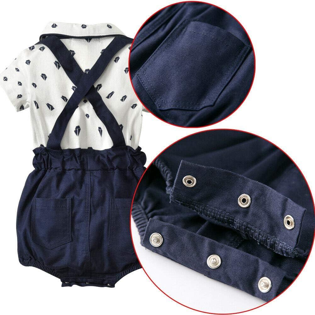 Baby Boys Bowtie Gentleman Romper Bodysuits Overalls Bloomers Suspenders Clothes Set