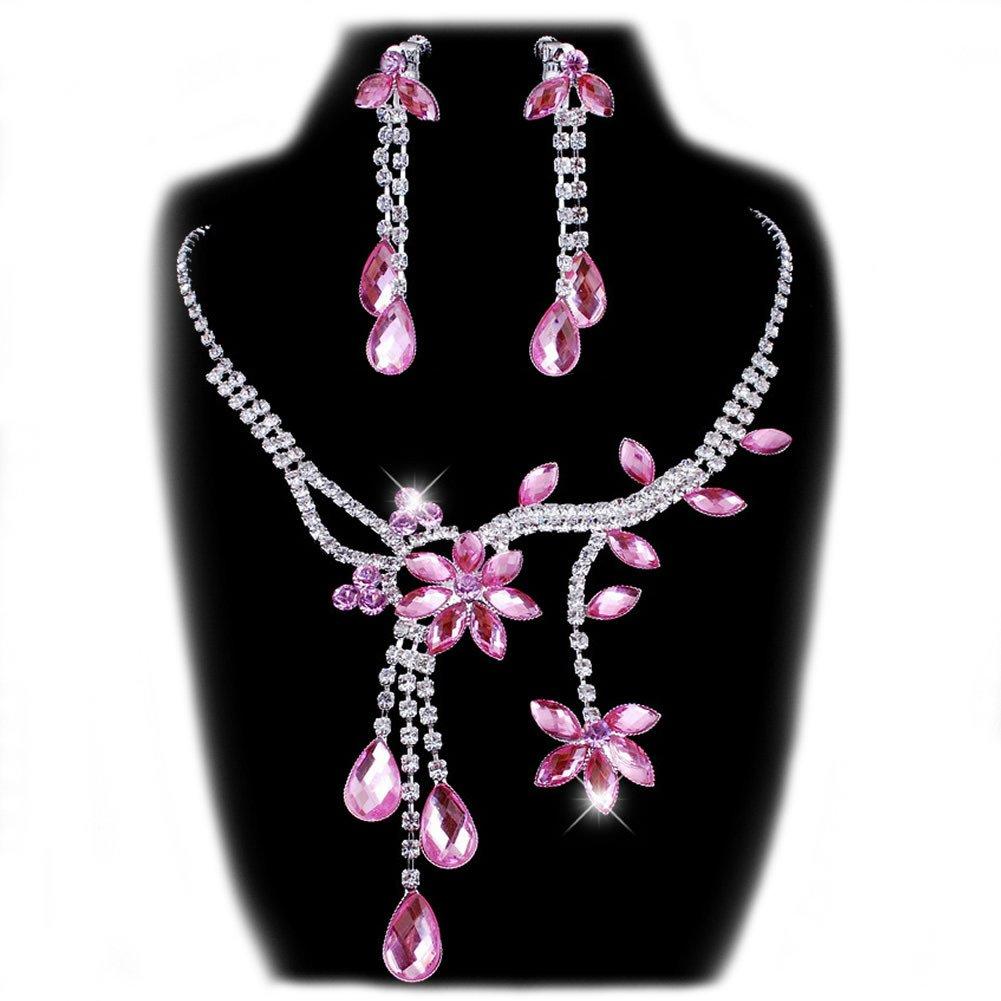Chunlin Wedding Bridal Flower Leaf Rhinestone Crystal Necklace Drop Earrings Jewelry Set (Pink)