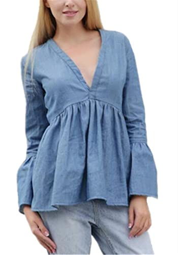 Kerlana T-shirt Mujer Camiseta Sexy Mangas Largas Camisas V Cuello Blusa Elegante Casual Blusas Vaqu...