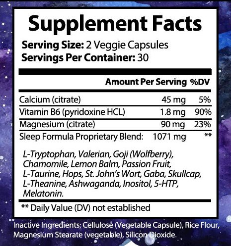 Eveluna - Natural Sleep Aid Supplement with Melatonin, Valerian, Tryptophan, 5-HTP and More - Non-Habit Forming Sleeping Pill Support - Wake Rested And Refreshed - 60 Veggie Capsules (5) by Dinosaur Nutrition (Image #7)