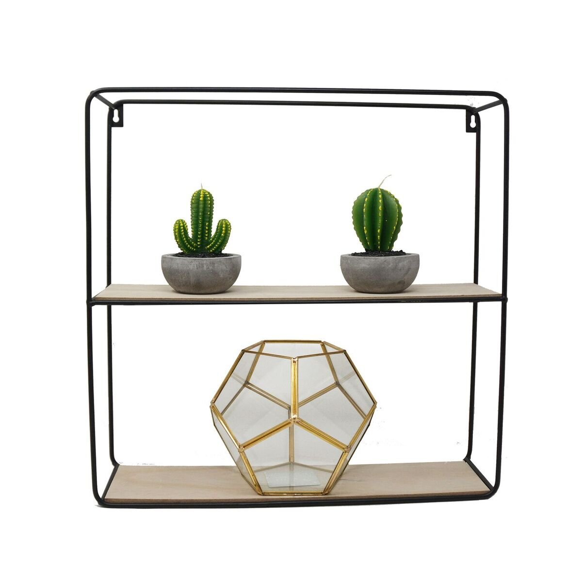 The Nifty Nook Modern Metal Wire Frame Floating Shelves - Decorative Wall Mounted Wire Cube, Set of 4, Black