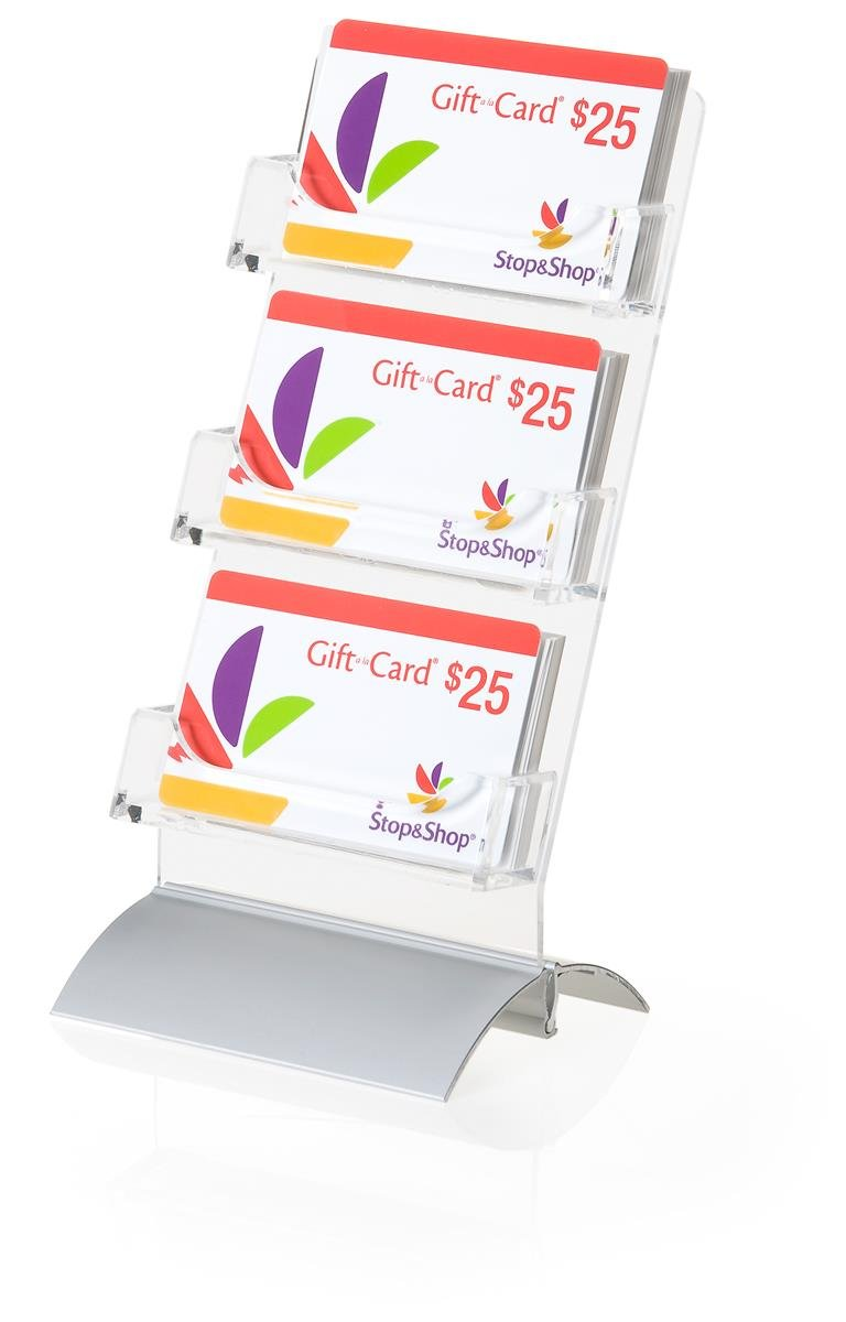 Displays2go Set of 10 - Business Card or Gift Card Holder, 3-Tiers with Silver Base (STSWBCC)