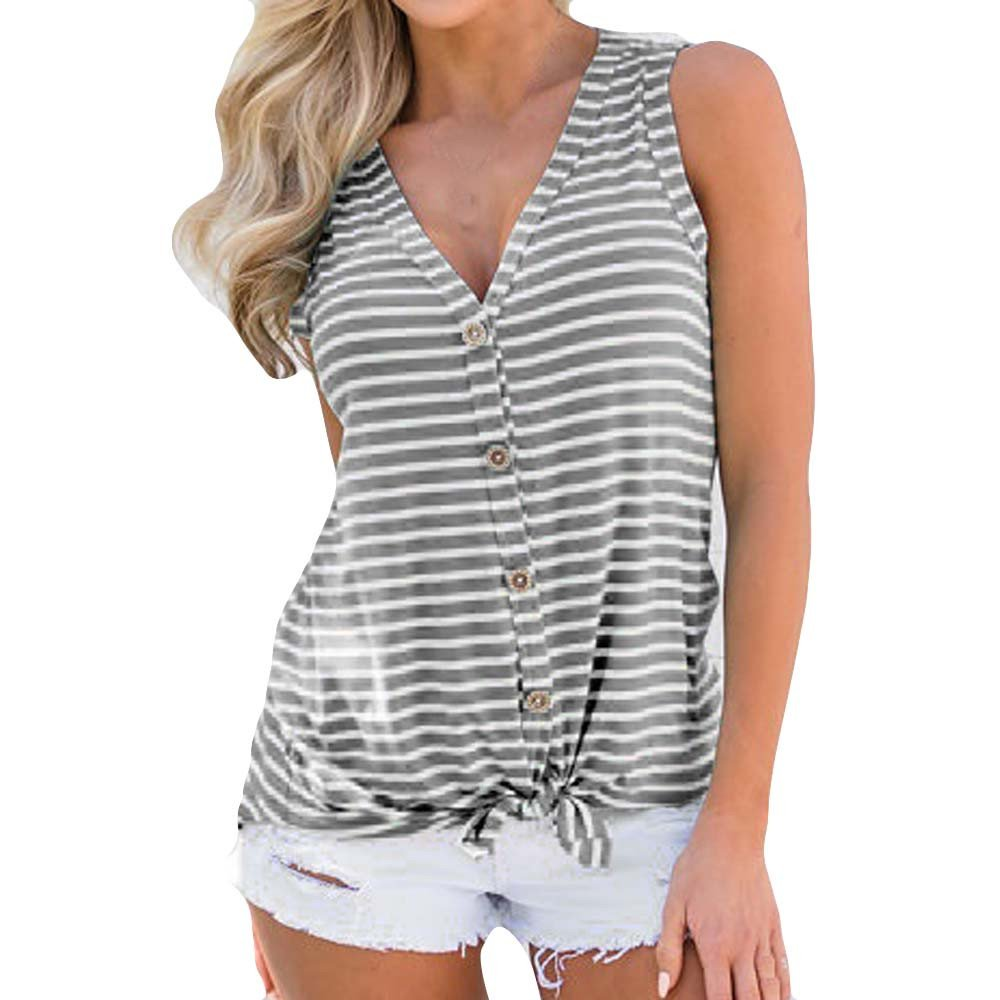 Wugeshangmao Blouses for Women Fashion 2019 V-Neck Button Cotton Stripe Sexy Vest Tank Tops Teen Girl's Summer Tops Hot Gray