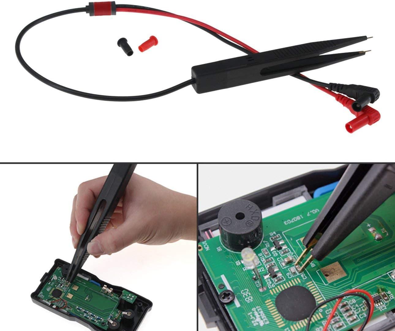 Ballylelly SA001 Pinza de Prueba Condensador SMD Pinza de cocodrilo para mult/ímetro Sonda Cables Accesorios Pinzas de Inductor Aguja de Alambre