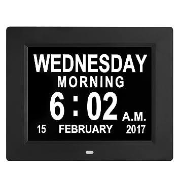 Digital Reloj de Pared, Despertador, Grandes dígitos, Extra Grandes de LED Reloj con Calendario electrónico y indicador de día, con Cuerda, ...