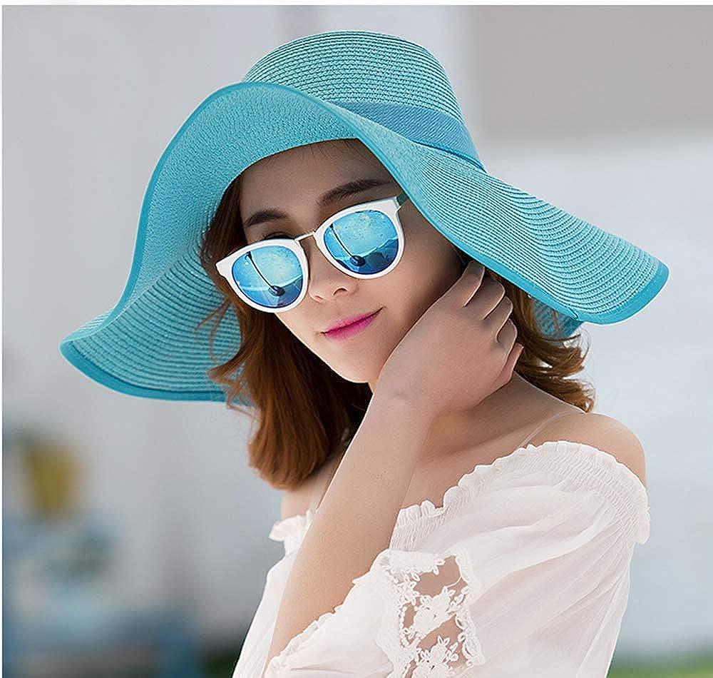 Women Beach Sun Hat Floppy Roll Up Wide Brim Sun Protection Visor Bucket Cap