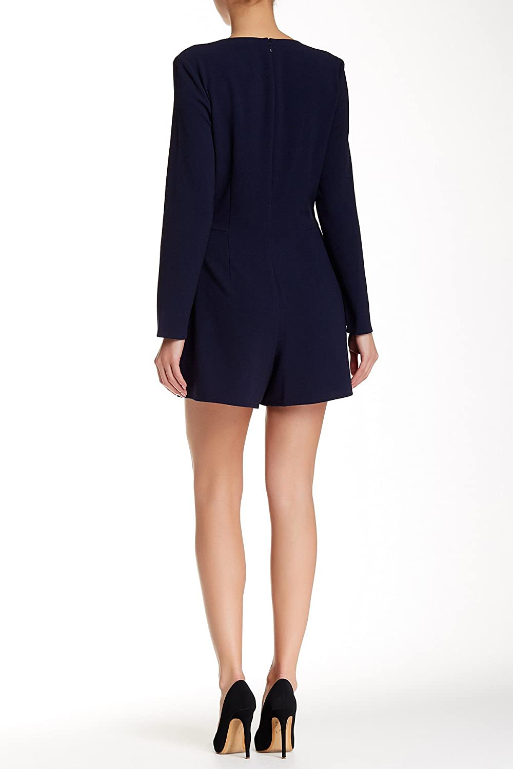 1.STATE Nightshade Navy Blue Wrap Front Long Sleeve Romper Size Large