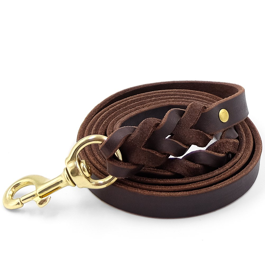 Faylife Leather Dog Leash 6 ft - Braided Heavy Duty Training Leash for Large Medium Small Dogs Running and Walking (Width:5/8'',Brown) …