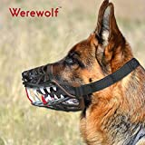 Wrewolf Dog Muzzle WEREWOLF Unique Design with Adjustable Metal Buckle and Unti-biting & Chewing for Small Medium and Large Dogs-Smile & Sharp (New Sharp, M)