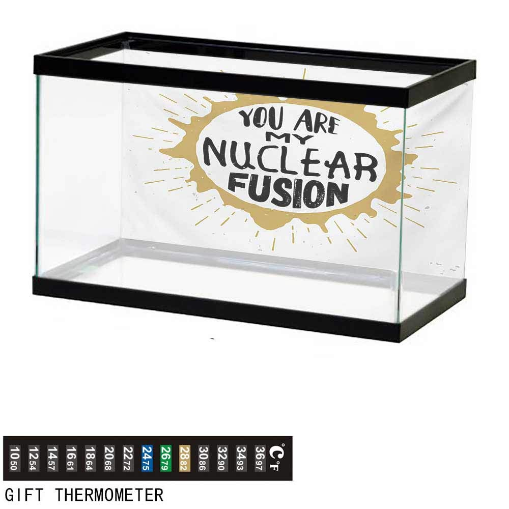 wwwhsl Aquarium Background,Quote,Love Message Inside The Round Star with Cosmic Wind Around Retro Style,Sand Brown and Black Fish Tank Backdrop 60'' L X 24'' H