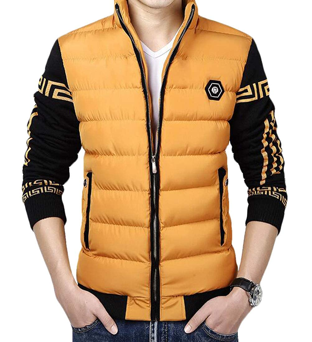 Domple Mens Stylish Warm Quilted Zipper Stand Collar Down Jacket Coat