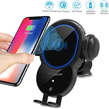 2020 8 8 Plus Compatible with iPhone 11//11 Pro Max Xr Smart Car Charger Motion Sensor Auto-Open Phone Car Mount 10W Qi Fast Charging Gold Car Phone Holder Air Vent X XS Max Xs