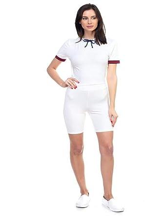 4915ad8fd6 Amazon.com: Essentials Unlimited LLC Stripe Band Top & Biker Shorts ...