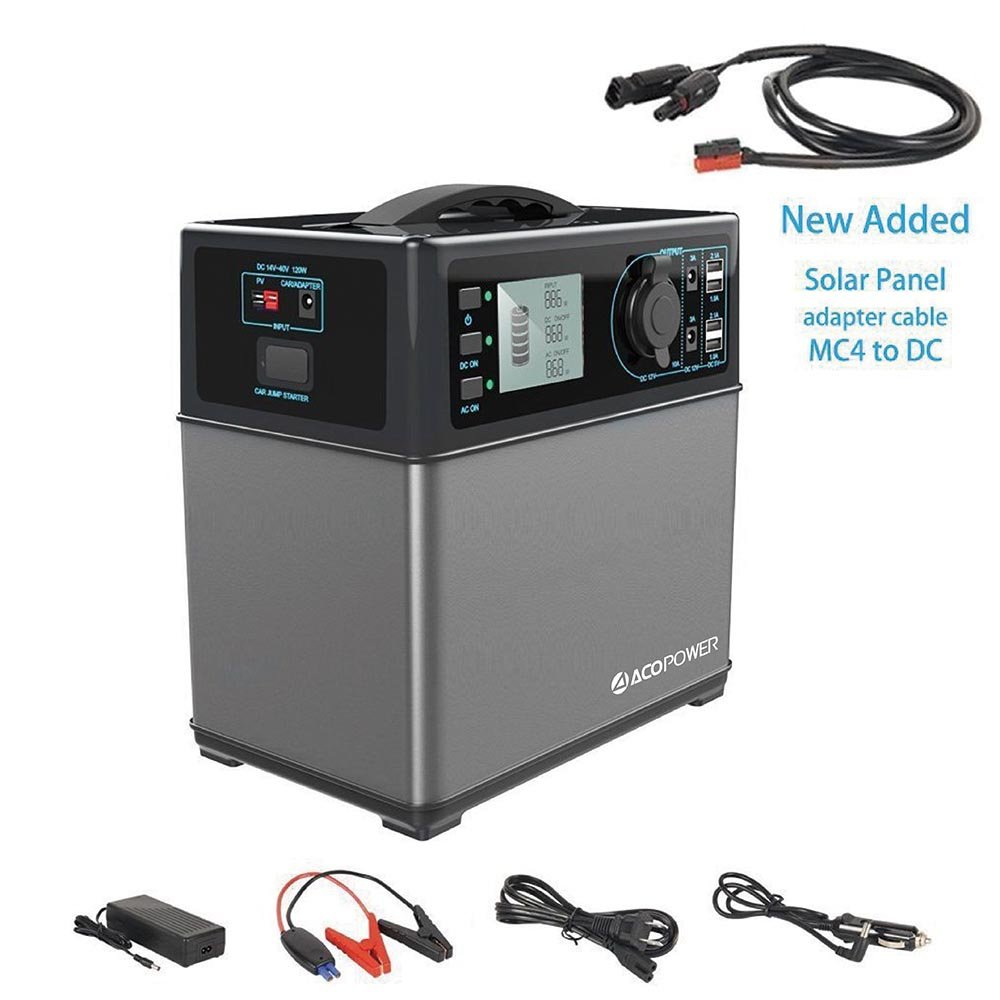 ACOPOWER 400Wh Portable Solar Generator Power Supply Energy Storage Lithium ion Battery Charged by Solar/AC Outlet/Cars with 300W AC Pure Sine Wave Inverter