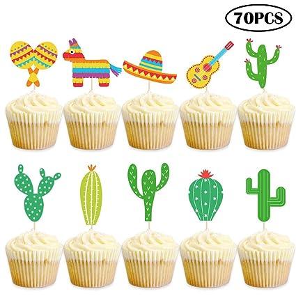 Haojiake - Decoración para cupcakes de Fiesta mexicana, 70 ...
