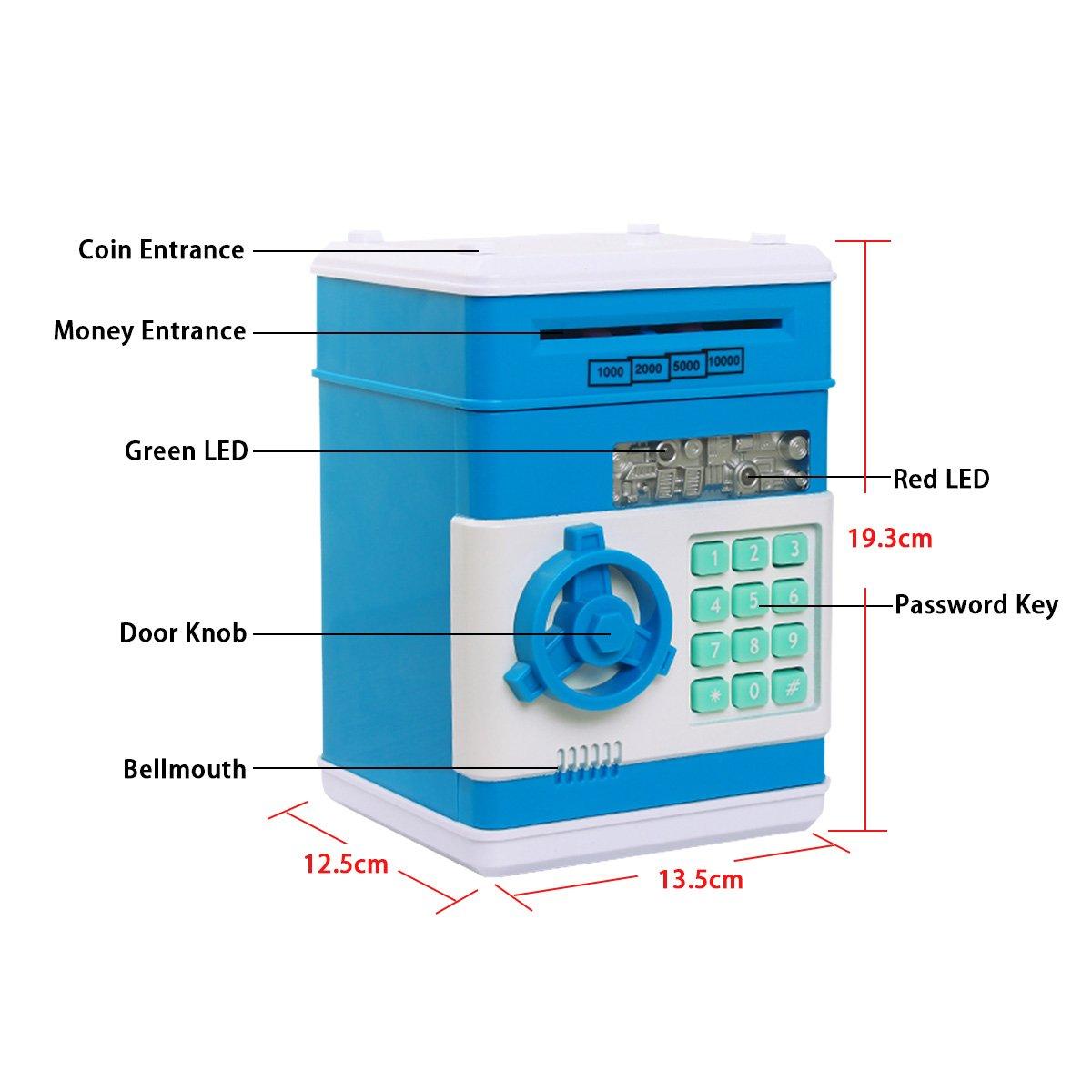 Moneta di Risparmio Scatole Blu Salvadanai i Regali dei Giocattoli Regali di Compleanno per i Bambini Mini ATM Coin Casse di Risparmio Netspower Sicurezza Salvadanaio Bancomat Digitale Elettronico Money Bank Per i Bambini