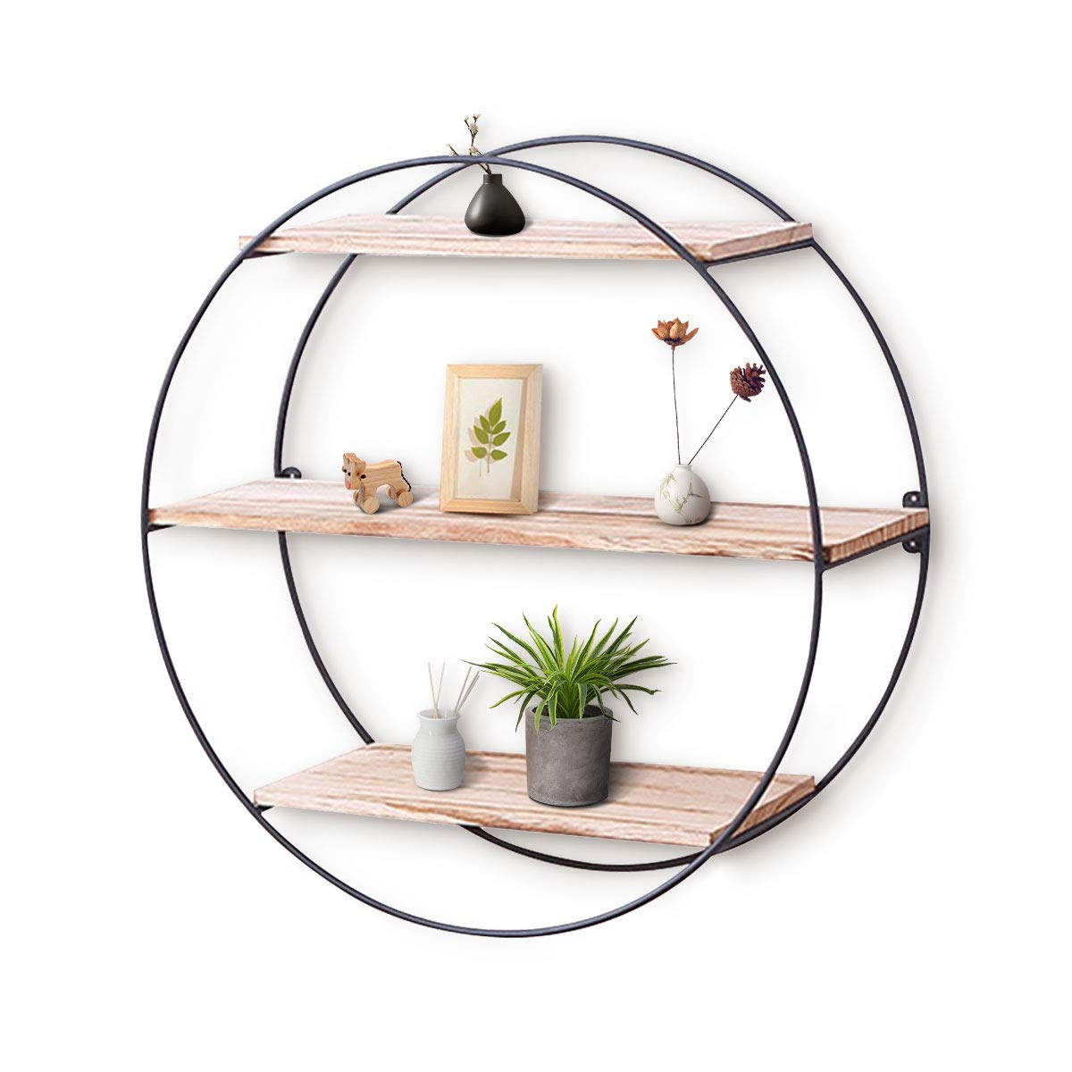 Round Wall Shelf king do way Rustic Wood Floating Shelves,Decorative Wall Shelf for Bedroom, Living Room, Bathroom, Kitchen, Office and More (Round)