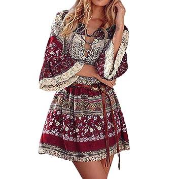 Damen boho Kleider Stil Mode Partykleid Abendkleid Trompetenärmel SjVUzqGLMp