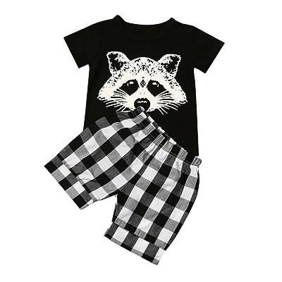 (*^_^*) Conjuntos Niño, POLP Conjuntos Verano Niño Blusa de Dibujos Animados Tops + Pantalones Cortos Conjuntos Camiseta y cuadrículas Pantalones Cortos Conjuntos