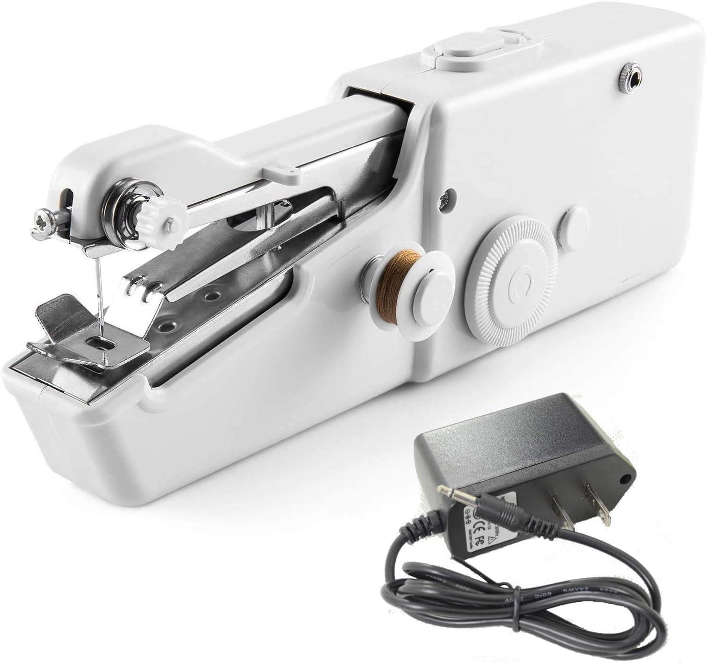 YLOVOW Máquina De Coser De Mano, Tienda De Artesanía DIY, Máquina De Coser Portátil, Utilizada para Telas, Ropa, Ropa para Niños, Viajes Familiares (Cable De Alimentación De Regalo)