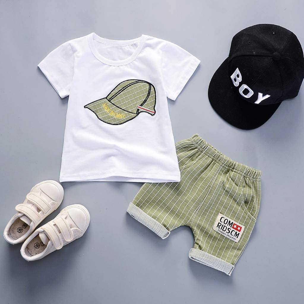 6M-3T Plaid Shorts Set Toddler Kids Baby Boys Outfits Childrens Short Sleeve Plaid Hat Print T-Shirt
