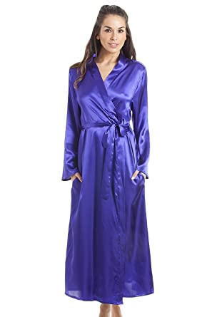 Camille Womens Purple Luxury Satin Dressing Gown at Amazon Women\'s ...