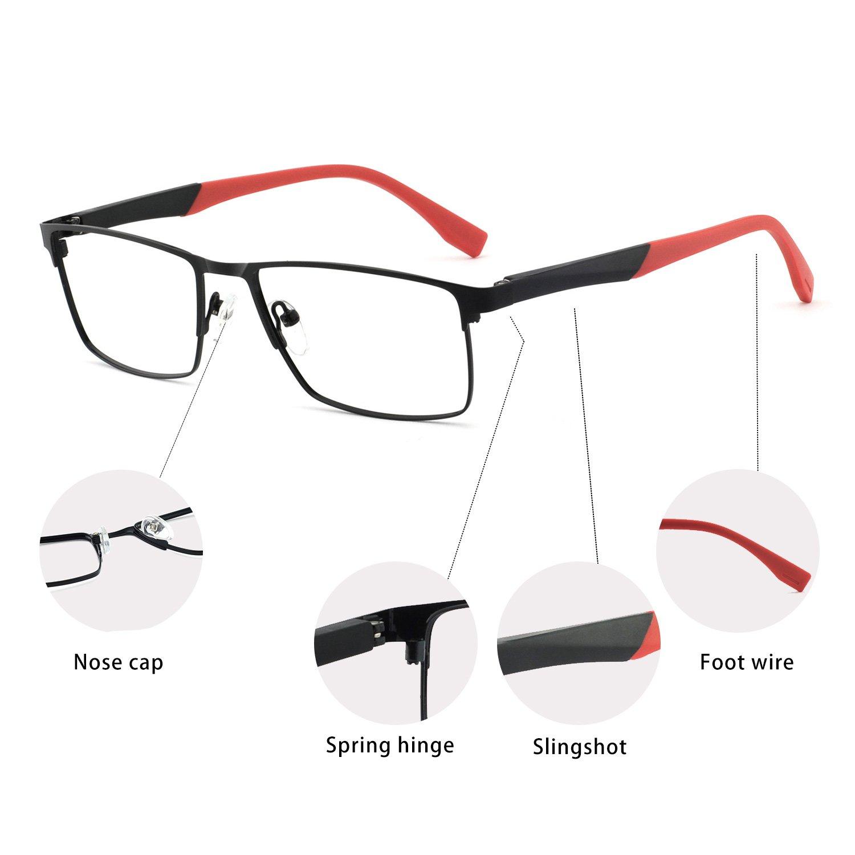 Gun+Black OCCI CHIARI Optical Mens Eyewear Classic Non-prescription Eyeglasses Frame with Clear Lenses