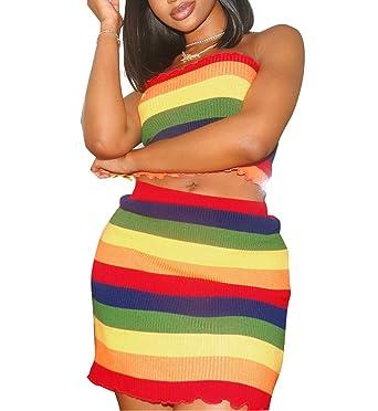 7b5037c969d Women s Sexy 2 Piece Rainbow Stripe Print Outfits