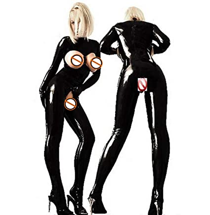 5c55bdfb1ac Image Unavailable. Image not available for. Color  SHANGXIAN Women Sexy  Black Jumpsuit Latex Catsuit ...