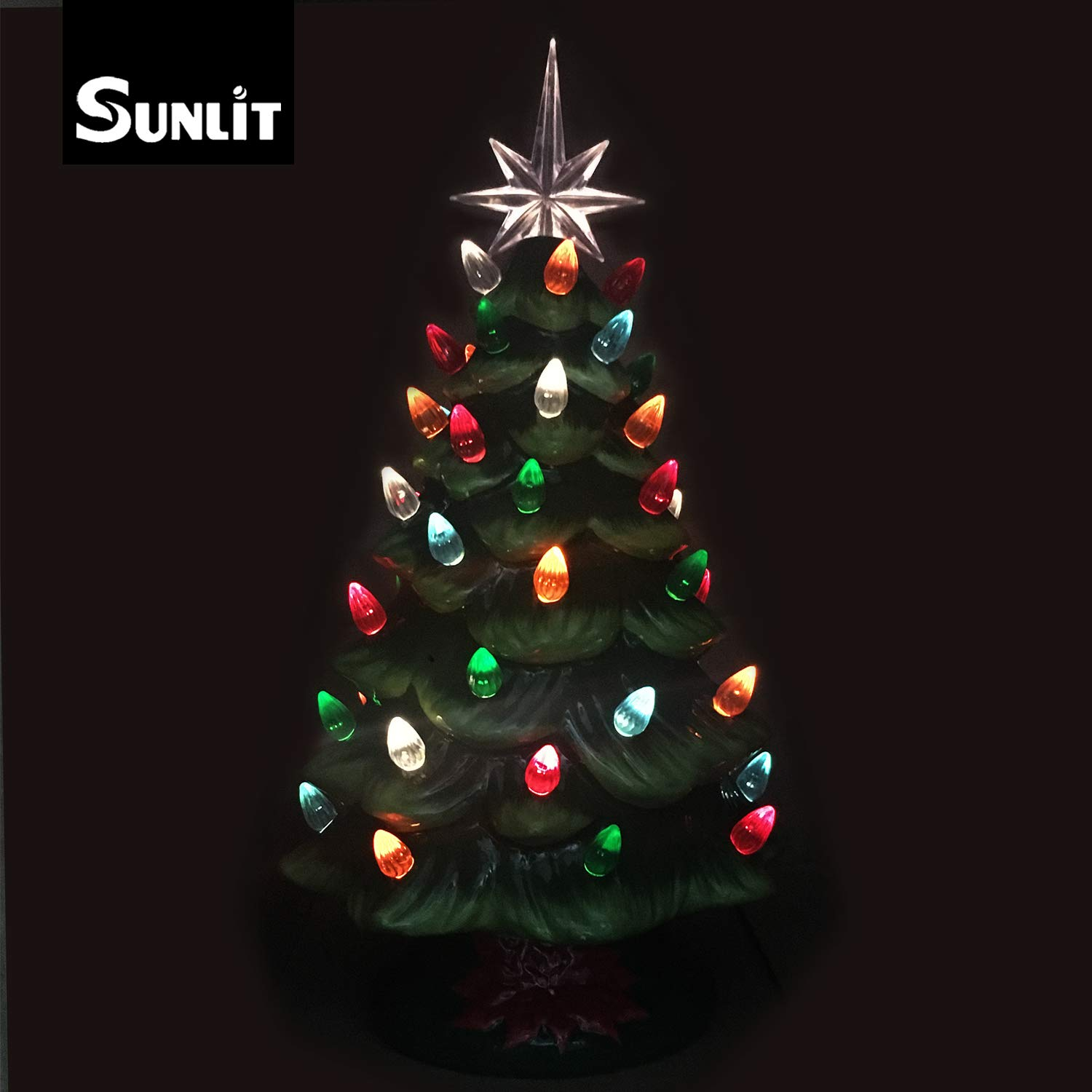 cordless lighted ceramic christmas tree vintage tabletop christmas decoration prelit colorful mini light bulbs 13 traditional green aa battery operated