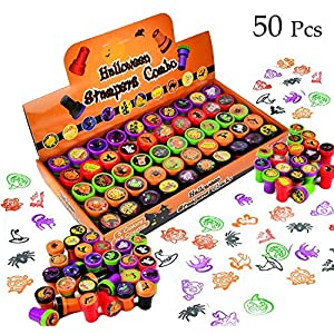 Best Epic Trends 618V7Sp7s-L._SS300_ 50 Pieces Halloween Assorted Stamps Kids Self-Ink Stamps (25 DIFFERENT Designs, Plastic Stamps, Trick Or Treat Stamps…