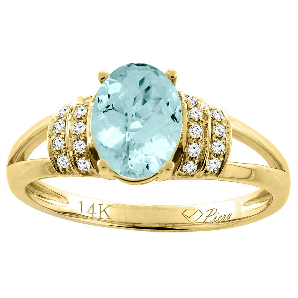 14K Yellow Gold Natural Aquamarine Ring Oval 8x6 mm Diamond Accents, size 7