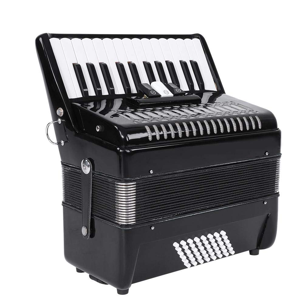 Accordion, 48 Bass 26 Key 3 Switch Button Accordion with Bag Strap Wiping Cloth by Dilwe