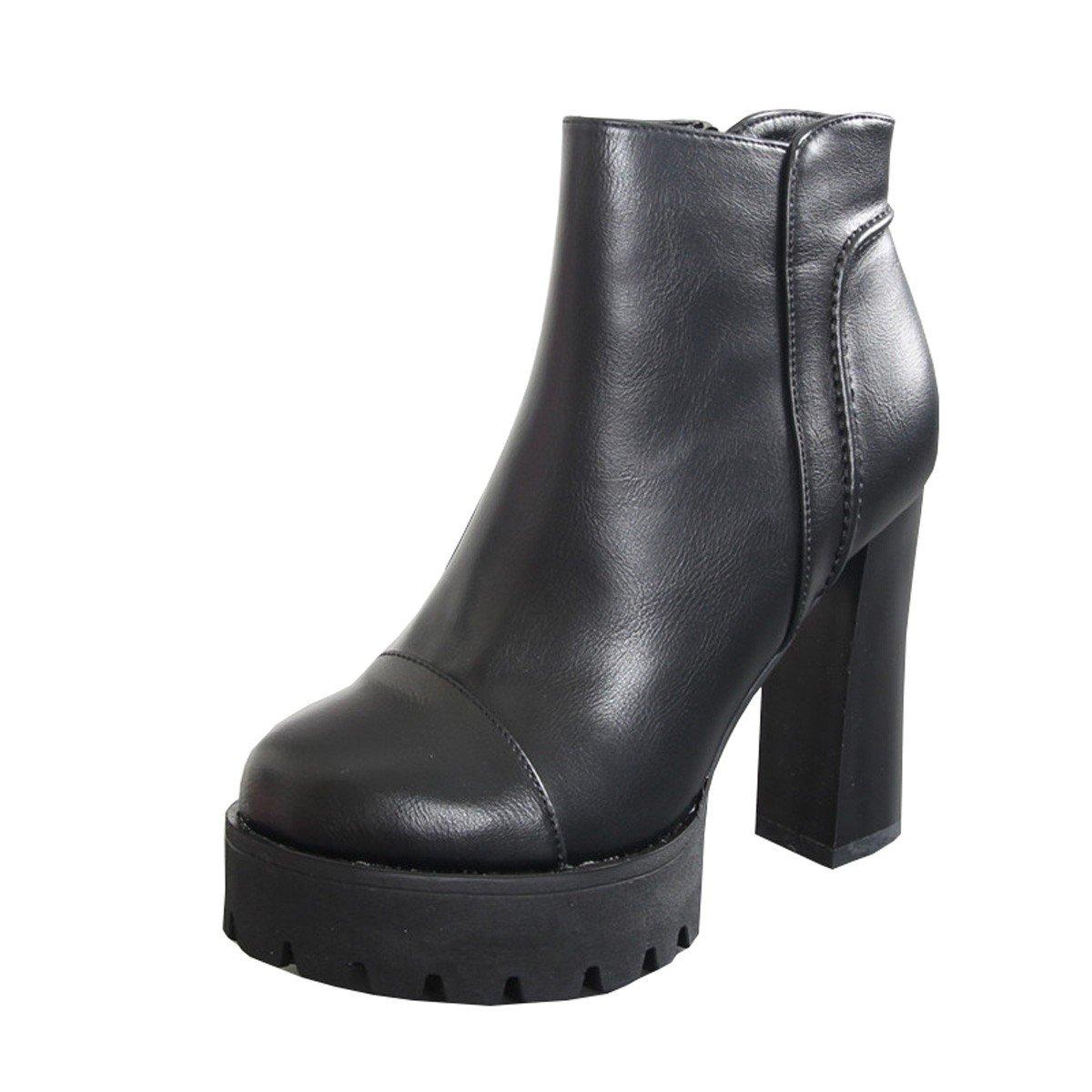 HBDLH-Damenschuhe Dick und Kurze Stiefel Weiblich Flanell Warme Stiefel Martin Stiefel Winter Schwarz Wilde Wasserdicht - Plattform 12Cm Hochhackigen Stiefeln.