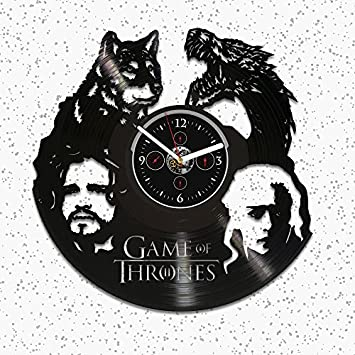 Wall Clock Vintage, Game Of Thrones Vinyl Clock, Jon Snow Gift, Game Of Thrones Wall Clock, Daenerys Clock, Vinyl Wall Clock, Game Of Thrones Gift, Wall Clock Large, GoT Clock, Gift For Man