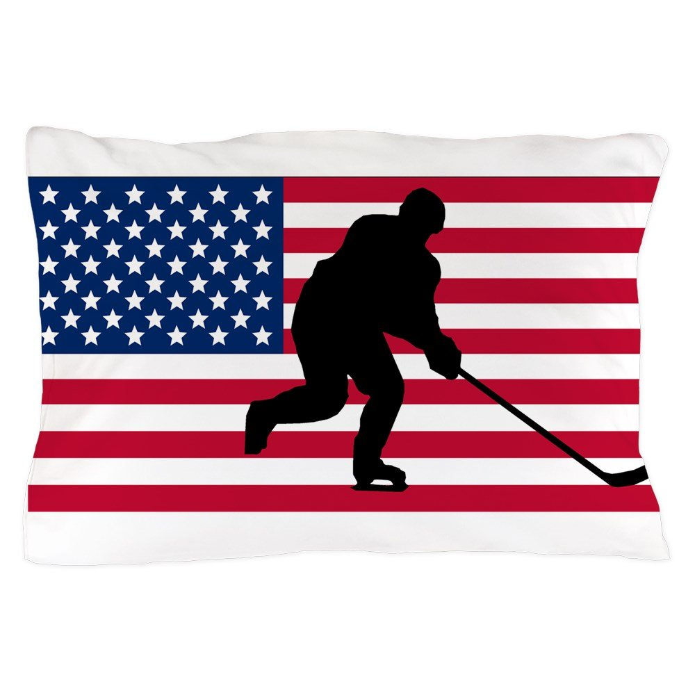 CafePress - Hockey American Flag - Standard Size Pillow Case, 20''x30'' Pillow Cover, Unique Pillow Slip