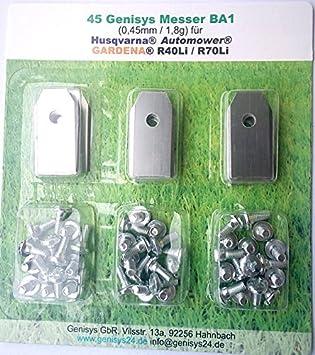 45 Cuchilla para Husqvarna Automower incl. Tornillo Gardena R40Li R70Li Sileno Sileno+: Amazon.es: Bricolaje y herramientas